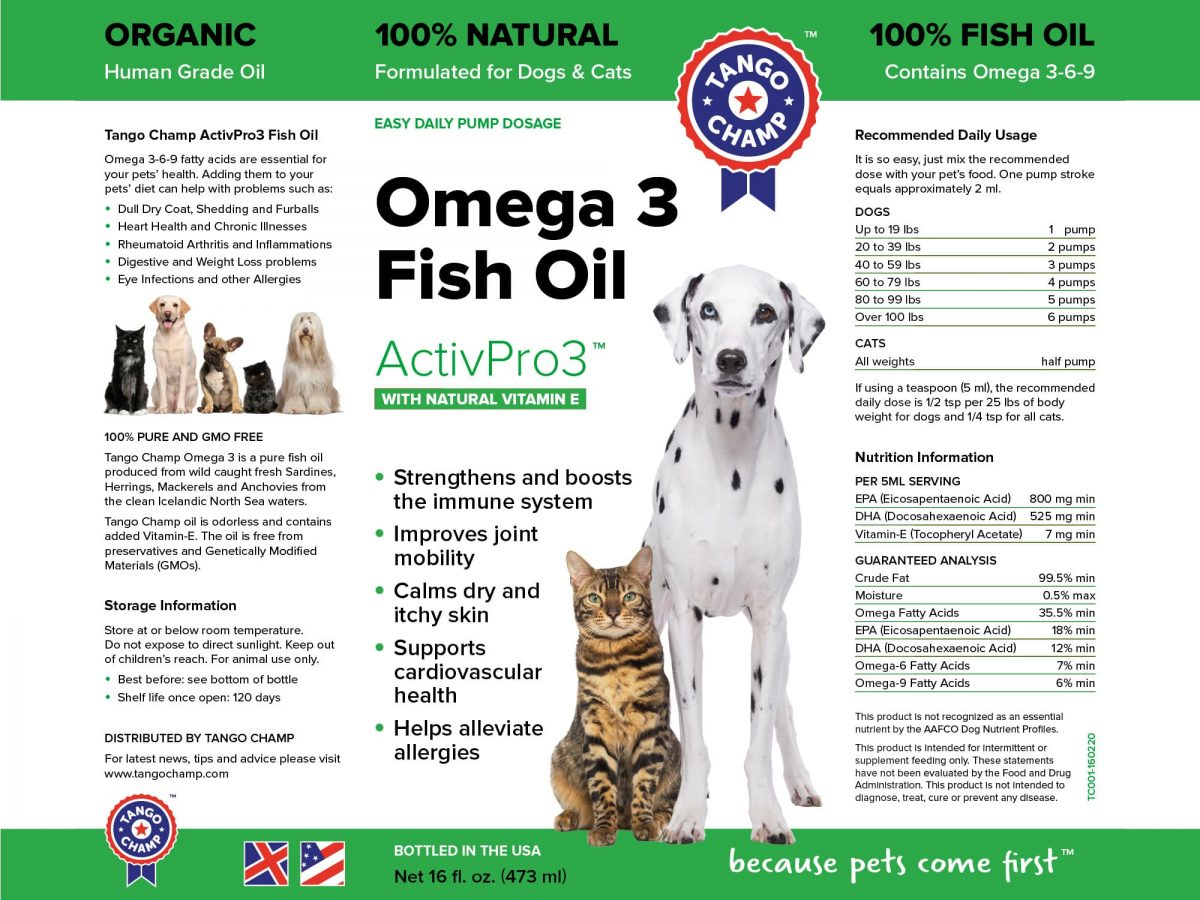 Pure omega 3 liquid fish oil tango champ for How much fish oil should i give my dog